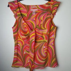 Bandolino  Orange Swirl Blouse Size 10